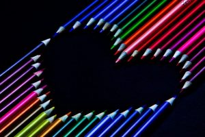 Heart of coloured pencils - love of writing